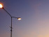 Sky view with street light illuminated in the sunset